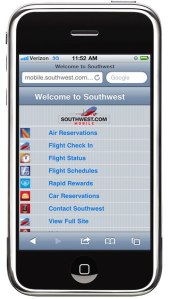Southwest's mobile website