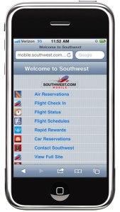Southwest's mobile website