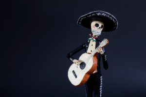 Day of the Dead doll Mariachi Guitarron player